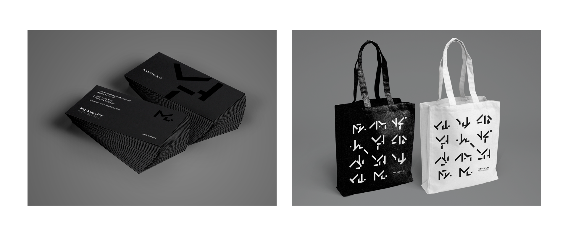 Markus Link business cards and tote bags